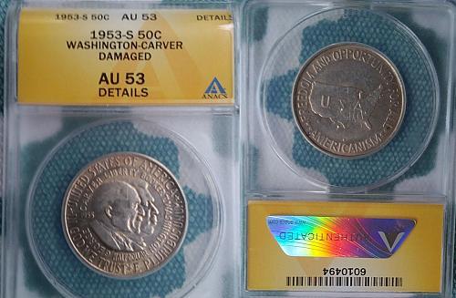 1953-S Washington- Carver commemorative half dollar AU 53 damaged ANACS