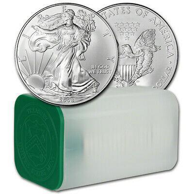 2008 American Silver Eagle (1 oz) $1 - 1 Roll - Twenty 20 BU Coins in Mint Tube