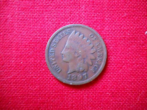 1897 Indian Head Cent Very Good Grade Original Surfaces