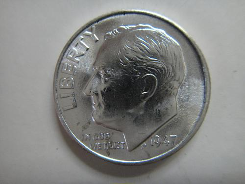 1947 Roosevelt Dime MS-64 (Near Gem)