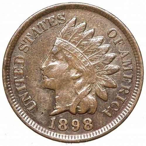 1898 P Indian Head Cent #25 Nice brown but maybe cleaned in the past.