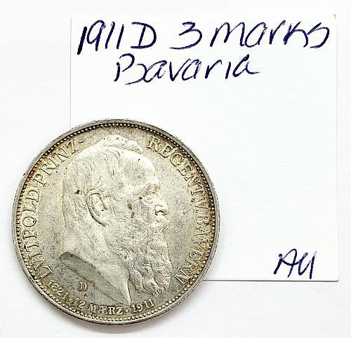 1911 D 3 Marks - Bavaria