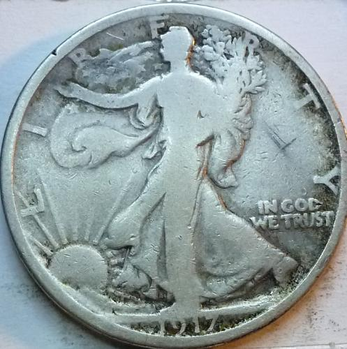 1917-S Reverse Very Good Walking Liberty Half Dollar  ( 322 )