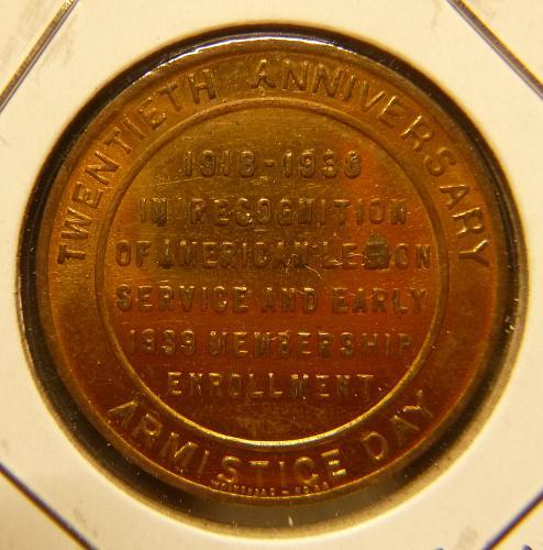 AMERICAN LEGION 1918-1938 20 ANNV. COIN