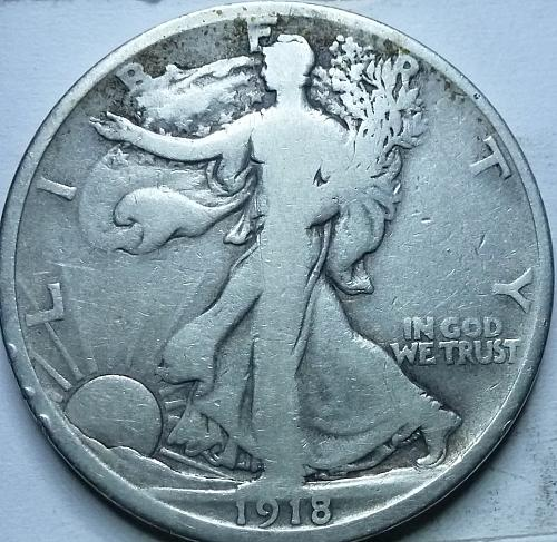 1918-D Fine Walking Liberty Half Dollar  ( 318 )