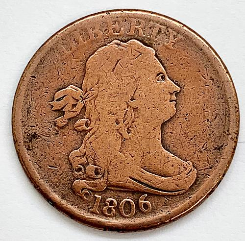 1806 Draped Bust Half Cent - Small 6 - No Stems - Cleaned