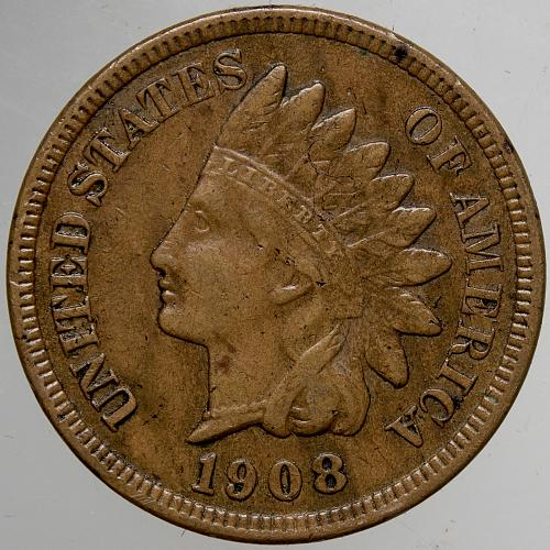 1908 P Indian Head Cent #65 Lightly Cleaned as shown