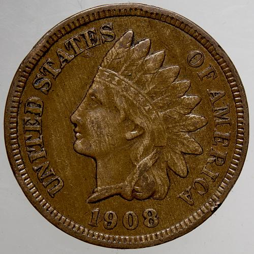 1908 P Indian Head Cent #66 Natural Brown