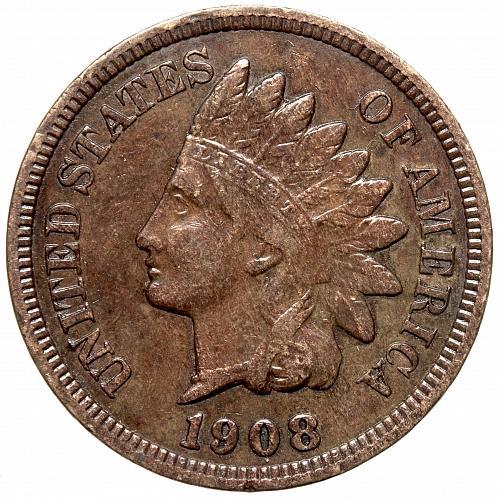 1908 P Indian Head Cent #67 Darker than shown.