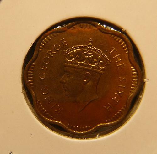CEYLON 1951 2 CENTS  COIN
