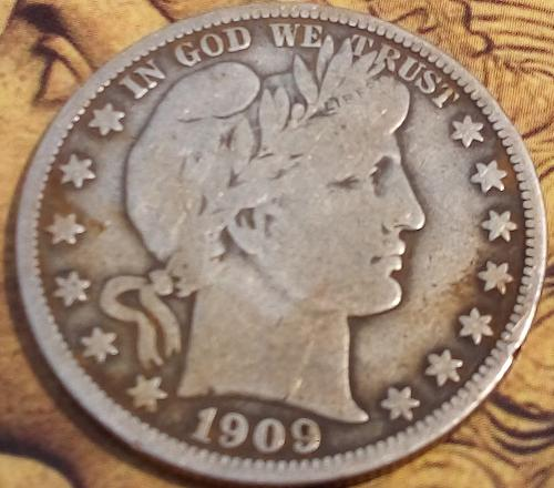 1909 Barber Half Dollar in fine