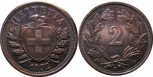 Switzerland 1932 2 Rappen  additional dot, die crack   0323