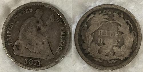 Silver 1871 Liberty Seated Half Dime