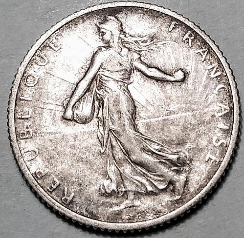 1919 FRANCE SILVER ONE FRANC