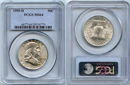 1959-D Franklin Half Dollar (MS-64) PCGS Silver Half Dollar
