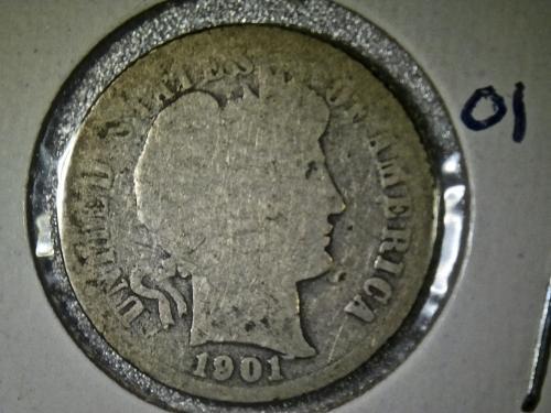 1901 P Barber Dime