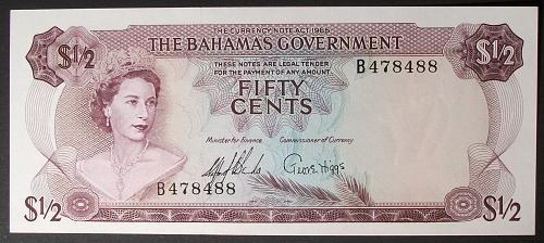 Bahamas P17a 1/2 Dollar UNC63