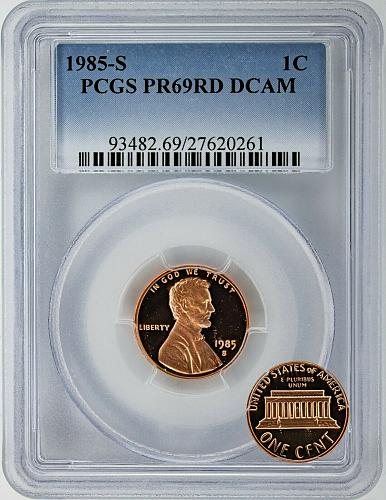 1985-S PR69RD DCAM  pcgs  Graded Uncirculated RED Lincoln Cents