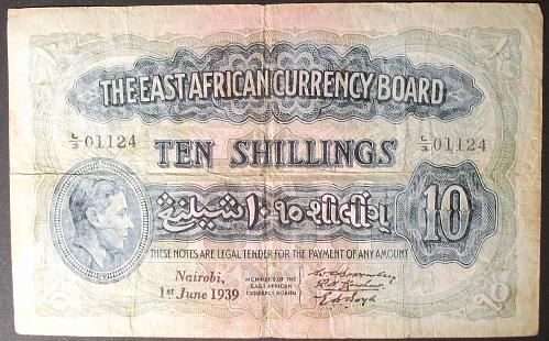 East Africa P26Ba 10 Shillings Fine