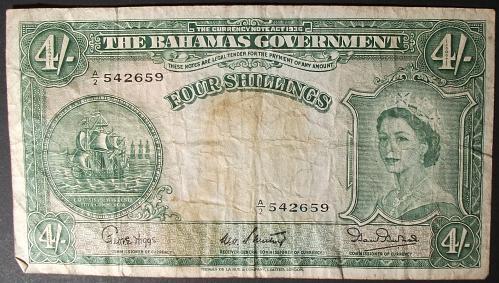 Bahamas P13b 4 Shillings VG-F
