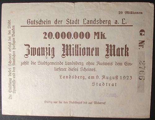 Germany/Landsberg 20 Million Mark VF
