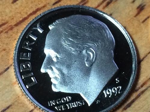 1992 S Roosevelt Dime Clad Proof