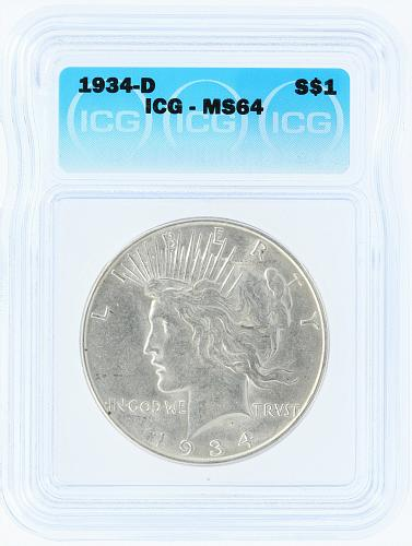 1934-D ICG MS64 S$1 Silver Peace Dollar