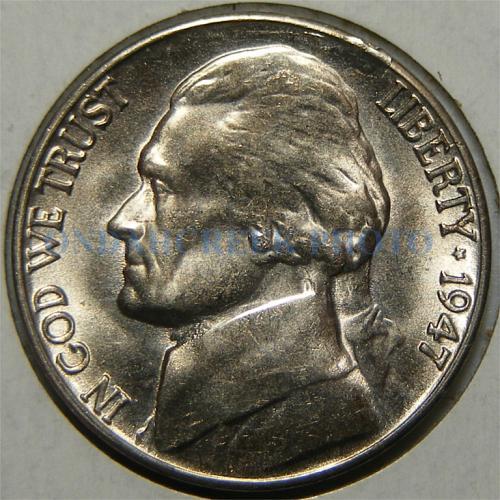 1947-S Jefferson Nickel Lamination Error CH BU+