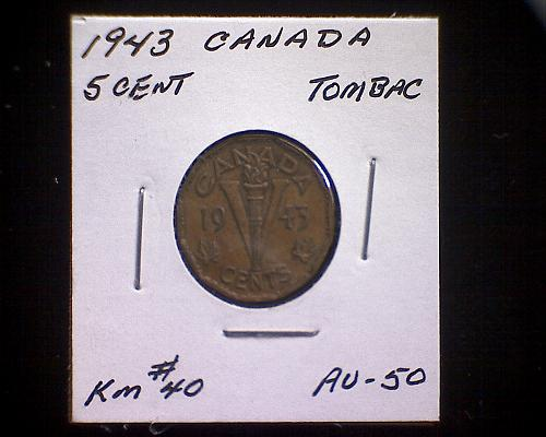 """1943 CANADA  FIVE CENT  KING GEORGE V1  """"TOMBAC"""""""