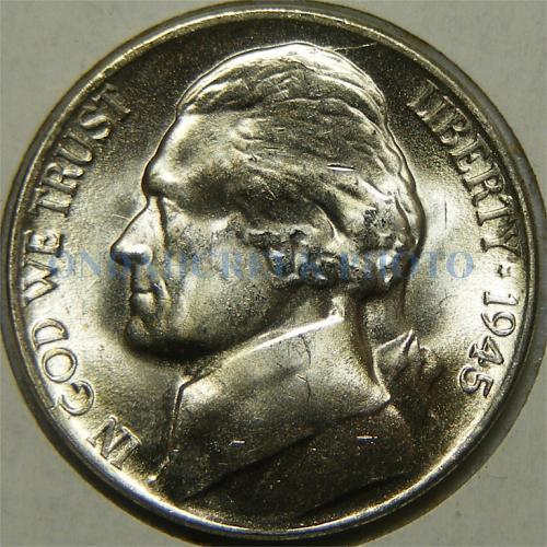 1945-D Jefferson Nickel Spiked Head Die Crack Error