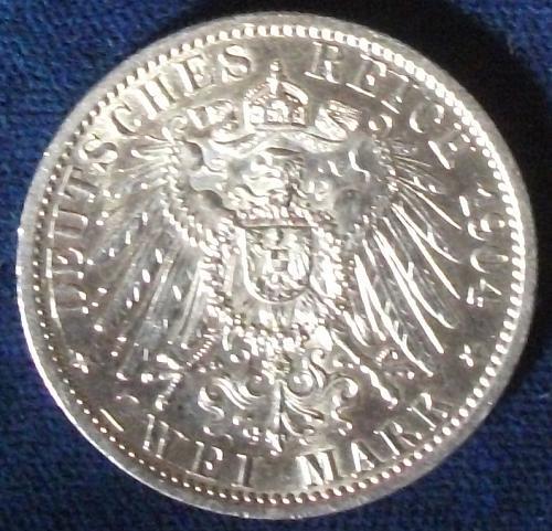 1904 German States/Hesse-Darmstadt 2 Marks AU-58