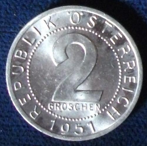 1951 Austria 2 Groschen BU