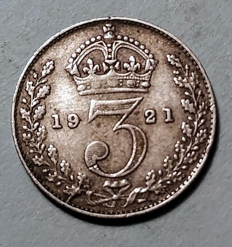 1921 BRITISH SILVER 3 PENCE