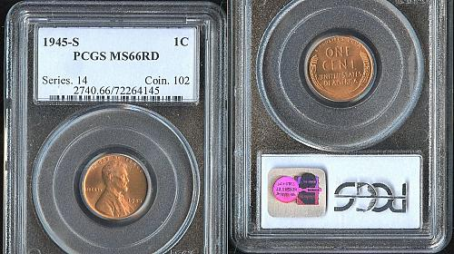 1945 S Lincoln Wheat Penny One Cent 1c PCGS MS66RD MS 66 RD