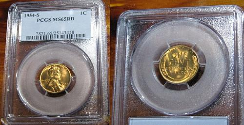 1954-S ~ Lincoln Cent ~ Wheat ~ PCGS ~ MS 65 RED