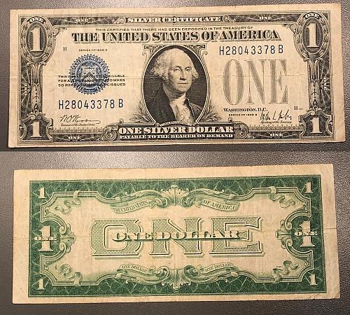 Fr.1602, 1928B $1 Silver Certificate