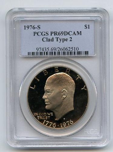 1976-S ~ EISENHOWER DOLLAR ~ CLAD TYPE 2 ~ PCGS PROOF 69 DEEP CAMEO