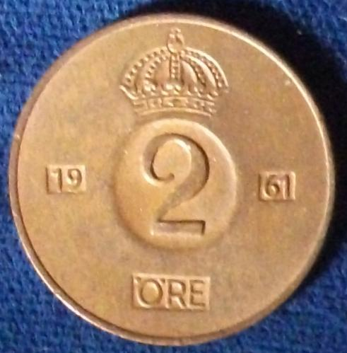 1961 Sweden 2 Ore UNC