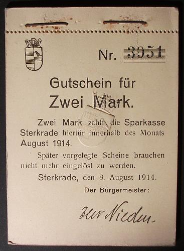 1914 Sterkrade 2 Mark Notgeld, Original Pad of 10