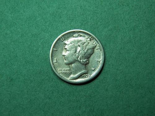 1928 D Mercury Dime VF-XF Coin   u43