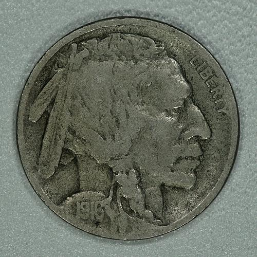 1916-D Fine Buffalo Nickel, tough key date with a lot of detail remaining