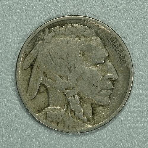 1918-D Fine Buffalo Nickel, tough early date with a lot of detail remaining