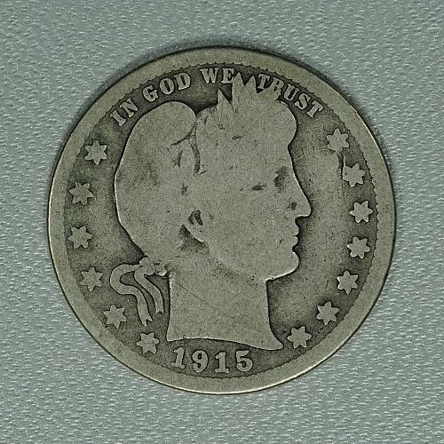 1915-S G Barber Quarter Dollar, much scarcer San Fran issue