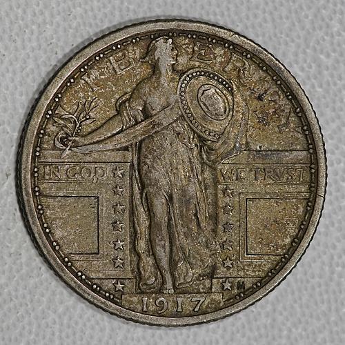 1917 XF-AU Quarter Dollar, Type 1 with bare breast, nice choice piece