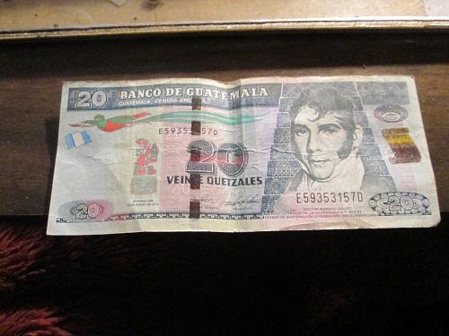 2015 Bank of Guatemala    20 Vinne Quetzales Bill