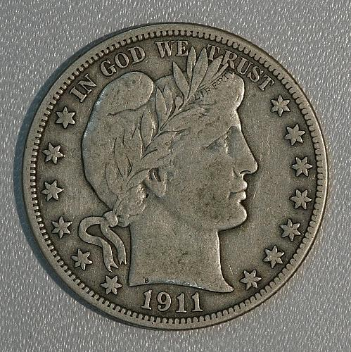 1911 VF Barber Half Dollar, decent piece with a lot of detail remaining