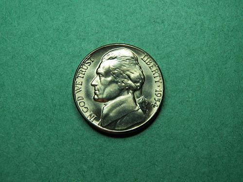 1954 S Jefferson Nickel Brilliant Uncirculated Coin   u42