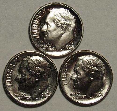 1984 P,D&S Roosevelt Dimes in BU and Proof condition