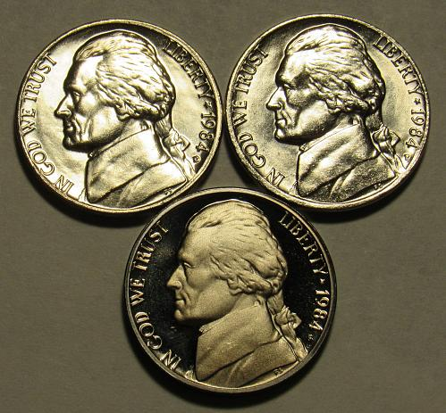 1984 P,D&S Jefferson Nickels in BU and Proof condition