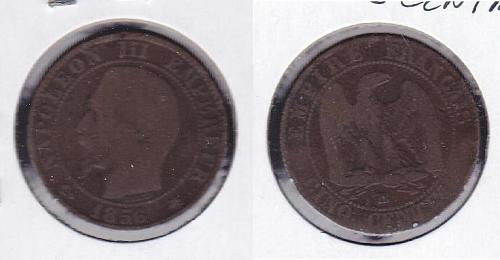 1856 France 5 Centimes World Coins